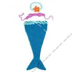 Baby Lovely Velvet Crochet Beanie Photography Sea Blue Mermaid Set #eozy