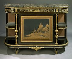 Louis XVI Style Gilt Bronze Mounted Cabinet By Charles Guillaume Winckelsen - French   c.1860