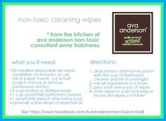 ... non-toxic cleaning wipes, from the kitchen of Ava Anderson Non-Toxic Consultant Anne Babineau ... 'like' on Facebook at https://www.facebook.com/AvaAndersonNonToxicAnnieB and send a message to order the Ava ingredients or learn more about our products, hosting a workshop or our business opportunity