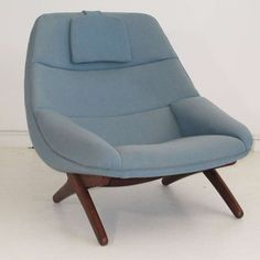 Illum Wikkelsø; Oak Base Lounge Chair, 1960s.