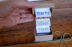 52 Weeks Of Mail- Week 35 Feature Photo | Mini Birthday Box- kraft brown box green twine and a special message inside for a 35th birthday