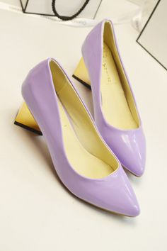 shoes - http://zzkko.com/n221872-uropean-and-American-big-Fan-simple-solid-color-Pointed-shoes-with-thick-purple-taro-aristocratic-temperament-OL-essential-in-heels.html $31.66