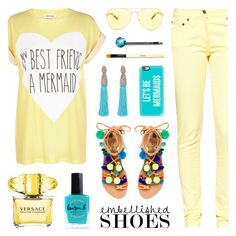 """Embellished Shoes - Mermaid Style"" by lgb321 ❤ liked on Polyvore featuring Michael Kors, River Island, Great Plains, Versace, Casetify, Lauren B. Beauty, Oscar de la Renta, Elina Linardaki, Cara and Bobbi Brown Cosmetics"