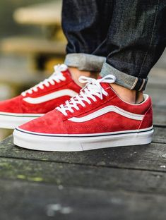 vans old skool leather racing red