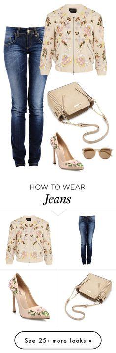 """dressy jeans"" by chiarettadesign on Polyvore featuring Needle & Thread, Giambattista Valli and Yves Saint Laurent"