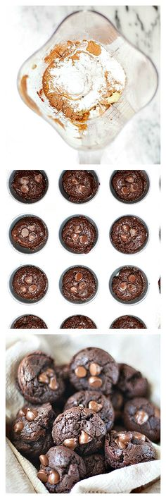 Chocolate, peanut butter, avocado blender muffins! Quick and healthy.