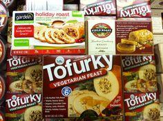 So many choices! Tofurky Vegetarian Feast, Gardein Holiday Roast & Field Roast Hazelnut Cranberry Roast.