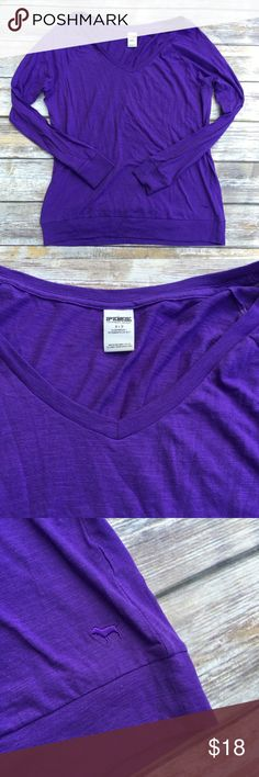 "VS PINK Purple Longsleeve Top This extremely practical longsleeve top is a must have for every closet! A great top to wear with leggings. Excellent condition. Size small.  Measurements  •Length: 26 •Armpit to armpit: 20"" PINK Victoria's Secret Tops Tees - Long Sleeve"