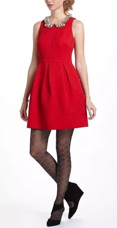 e1a62d43a Moulinette Soeurs Anthropologie Fit/Flare Red Nipped Brocade Jacquard Dress  Sz 8 #fashion #