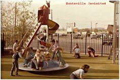 70s nostalgia everywhere in this photo of the McDonald's playland at North Parkway and Max Luther Drive in Huntsville, Alabama, posted by William H. Hampton to the Huntsville Revisited facebook page. More bell-bottom jeans than you can count clamor Captain Crook's striped spiral slide and the Mayor McCheese round-a-bout! A great part of this photo, far right, is the caged slide McDonaldland playgrounds had in the very early 70s, discussed more on page three of the Setmakers promo packet.
