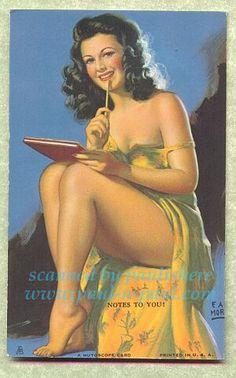 Mutoscope Pin Up Girl, Notes To You, Earl Moran.