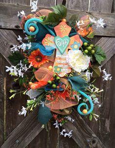 Spring Swag Spring Wreath Spring Door Hanging by BaBamWreaths Easter Wreaths, Spring Wreaths, Wreath Crafts, Wreath Ideas, Cross Wreath, Different Holidays, Spring Door, Deco Mesh Wreaths, Floral Wreath