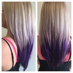 Blonde and violet color melt