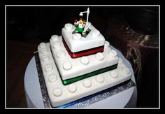 Lego inspired Wedding Cake. Do you think our kiddos will still be as obsessed at this age? Ha! #legoduploparty
