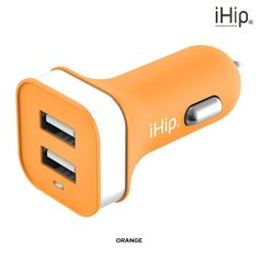 iHip Powerful 2-port USB 12v DC Outlet Car Charger - Assorted Colors