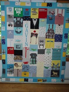 Custom Baby Clothes quilt with name Baby Clothes Quilt, Baby Clothes Patterns, Clothing Patterns, Baby Memory Quilt, Baby Quilts, Memory Quilts, Onesie Quilt, Shirt Quilts, Baby Bedroom Furniture