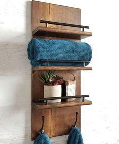Bath Towel Storage, Bath Towel Racks, Bathroom Towel Storage, Bath Towels, Towel Shelf, Towel Hangers For Bathroom, Bathroom Hardware, Kitchen Towels, Diy Rustic Decor