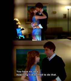 Jim and Pam. First time they kissed for real. John Krasinski's first onscreen kiss.... and it was AMAZING!!!