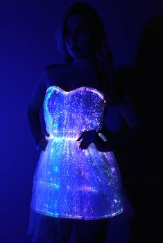 Fiber Optic Princess Dress: Color changing lights with remote for Burning Man, EDC, Tomorrowworld, Ultra, Festival, Rave