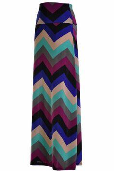 Chevron Striped Printed Maxi Skirt
