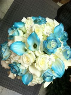 "For a wedding with a ""Malibu"" color theme. Merritt's Flowers, Pitman, NJ"
