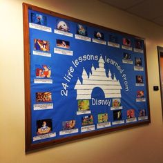 """life lessons learned from Disney"""" bulletin board. (ra bulletin board residence hall dorm reslife) Made By RA Nicole Caliri 24 life lessons learned from Disney bulletin board. (ra bulletin board residence hall dorm reslife) Made By RA Nicole Caliri Disney Bulletin Boards, Counseling Bulletin Boards, College Bulletin Boards, English Bulletin Boards, History Bulletin Boards, Mickey Mouse Classroom, Disney Classroom, Classroom Themes, Future Classroom"""
