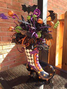 RAZ Witch Boot Arrangement, Halloween Bat Centerpiece, Witch Floral Arrangement, Harlequin MacKenzie Child's Decoration by Azeleapetals on Etsy https://www.etsy.com/listing/203189930/raz-witch-boot-arrangement-halloween-bat