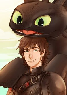 Look at that adorable expression off Toothless!  He is happy to be there.  Drawn by kanapy-art ...   How to train your dragon, toothless, hiccup, night fury, dragon, viking