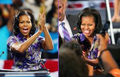 First Lady Michelle Obama greets people during a campaign rally at the James L. Knight Center in Miami, Florida