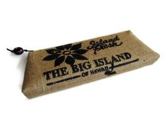 Clutch from a repurposed coffee sack from The Kona Pacific Farmers Co-op in Hawaii $45.00, via Etsy.
