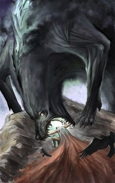 mitologiayleyendas:    Odin struggles against Fenrir in the Ragnarok.