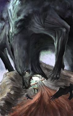 mitologiayleyendas:    Odin struggles against Fenrir in the Ragnarok.