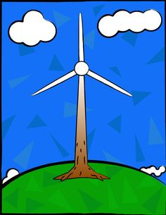 An idea inspired by the green movement, I designed a windmill that illustrates it's connection to nature. A Brown-white gradient is used for the pole. The blue and green backgrounds are highlighted with differently shaded triangles for visual interest.