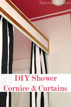 Add some character and style to your bathroom with this simple DIY shower cornice. It will take about an hour and $20 to complete. Great bang for your buck! DIY Shower Cornice & Curtains via RainonaTinRoof.com #diy