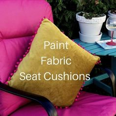 They were faded and stained and beyond saving.I thought ! But then I had an idea. Garden Seat Cushions, Outdoor Seat Cushions, Garden Seating, Outdoor Seating, Weekend Projects, Fabric Painting, Tutorials, Throw Pillows, Furniture