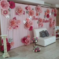 Discover thousands of images about Paper Flower Backdrop Paper Flower Wall Paper by MioGallery Wedding Stage Decorations, Backdrop Decorations, Birthday Party Decorations, Flower Decorations, Giant Paper Flowers, Diy Flowers, Paper Flower Backdrop, Backdrops For Parties, Flower Crafts