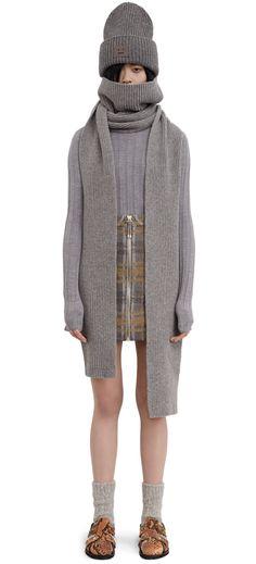 Jadyn S L-Wool, Dark Grey Melange scarf Acne Studios