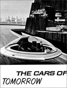 Pontiac, 1958 ( concept car / futurism / retro / vintage / hover craft / flying saucer / future / illustration)