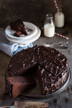 This Easy Chocolate Fudge Cake is moist, very chocolatey and really easy to make. Made with both real chocolate and cocoa powder! www.recipetineats.com