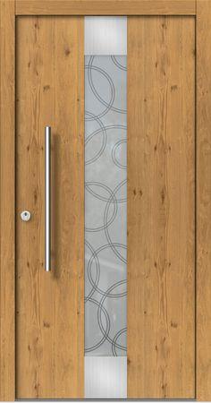 Holz-Haustür Modern Modell M123 z.B. Holzart Eiche astig mit Edelstahl über und unter dem Glas