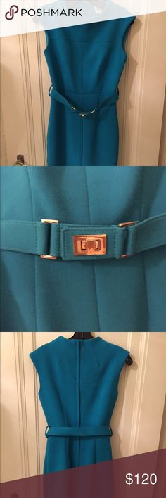 Milly Teal sleeveless belted dress Milly heavy knit teal sleeveless dress with belt with gold buckle detail. Mint condition. Very classy dress. Size 0 Milly Dresses Midi