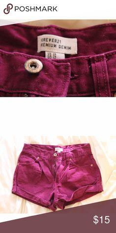 High Waisted •• Forever 21 Shorts • Forever 21 Shorts • • size 26 •• worn a few times •• high waisted Forever 21 Shorts Jean Shorts