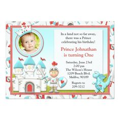 Shop Prince Birthday Party Invitation created by eventfulcards. Princess Party Invitations, 1st Birthday Party Invitations, 1st Birthday Themes, 1st Boy Birthday, 1st Birthday Parties, Birthday Ideas, Invitation Fete, Carton Invitation, Invite