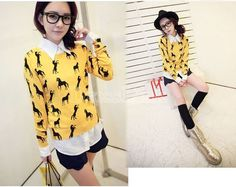 Women's Crew Neck Comfort Slim Long Sleeve Horse Patterns Print Knitted Sweater