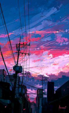 waneella is creating pixel art Anime Scenery Wallpaper, Aesthetic Pastel Wallpaper, Aesthetic Backgrounds, Aesthetic Wallpapers, Wallpaper Backgrounds, City Art, Sky Aesthetic, Aesthetic Anime, Purple Aesthetic