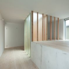 dezeen_Urban Hut by Takehiko Nez Architects, is a three storey residence that has a stark interior of plywood, white paint and translucent glass partitions.  Beautiful, the way the light filters through the panels and gives a faint hue to the glass.