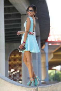 Light Blue V-back Flared Little Dress