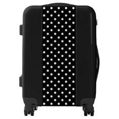 #stylish - #Black And White Polka Dots Pattern Luggage