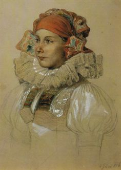 Hanačka (Josef Mánes) girl from Haná region, drawing by the czech famous artist Josef Mánes Folk Costume, Costumes, Famous Artists, Art Decor, Digital Art, Traditional, Czech Republic, Drawings, Illustration