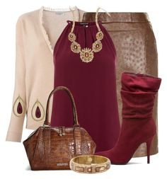 """""""Burgundy and Brown"""" by jennifernoriega ❤ liked on Polyvore featuring Brunello Cucinelli, MaxMara, Warehouse, Avenue, 1928 and Mark Davis"""